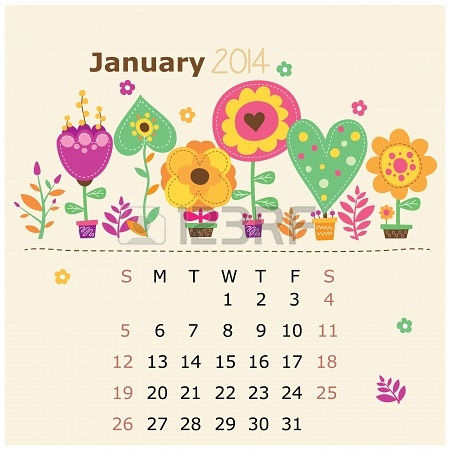 23869286-calendario-floreale-2014-gennaio